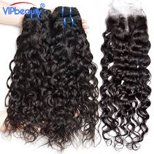 vip hair extensions water wave human hair 3 bundles with closure middle part