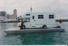 amphibious rv how come you can u0027t buy a folding trailerable pontoon barge page
