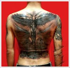 single tribal cross back neck tattoo in 2017 real photo pictures