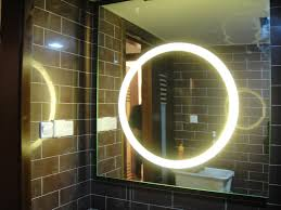 smart vanity mirror with round white lighting blend with brown