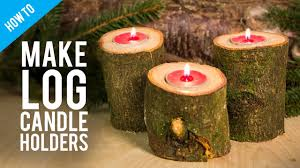how to make rustic wooden log candle holder youtube