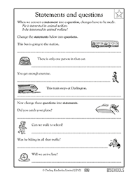 3rd grade writing worksheets statements and questions greatschools