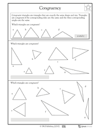 3rd grade 4th grade math worksheets congruent triangles