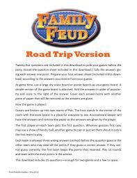 road trip family feud printable to play in the