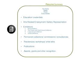 Writing Resume Summary Tma Writing Resume Bio U0026 Artist Statements