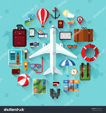air travel planning summer vacation tourism stock vector 640024912