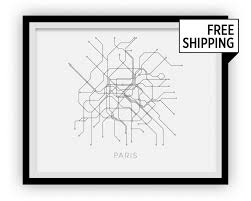 Metro Paris Map by Paris Subway Map Print Paris Metro Map Poster