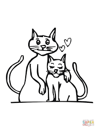 cat couple in love coloring page free printable coloring pages