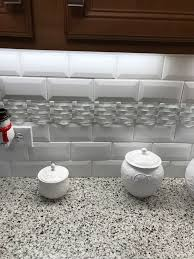 kitchen backsplash 3x6 white subway tile with deco accent strip