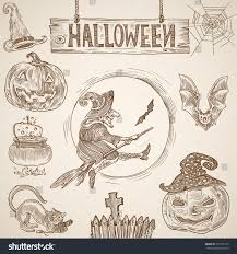 halloween vintage engraving graphics set witch stock vector