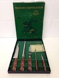 sharp vtg old homestead 6 steak knives set stainless steel wood