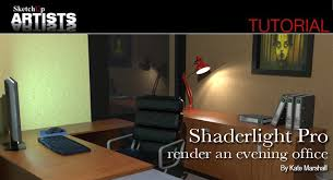 shaderlight pro render an evening office sketchup 3d rendering