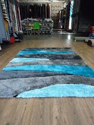 Gray Blue Area Rug 2 Set Handmade Vibrant Gray With Blue Shag Rug Rug Addiction