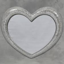 large mosaic crackle glass heart wall mirror shabby chic and