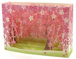cherry blossom tree box pop up decorative greeting card premium