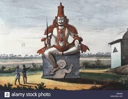 hindu l statue of a hindu evil genie coloured lithograph from l inde
