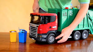 bruder garbage truck zach the garbage truck scania rear loader youtube