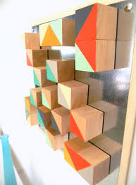 modern geometric art abstract wood blocks triangle chevron