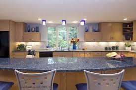 blue granite countertops kitchen contemporary with open shelving