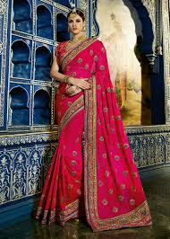engagement sarees for bridal wear pink saree with heavy embroidered saree traditional