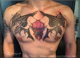 デーモン 悪魔 胸 chest tat 名古屋大須のタトゥー