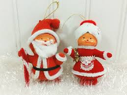 santa and mrs claus ornaments felt santa ornaments made in