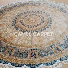 Round Blue Rugs Hand Knotted 8 Ft Round Area Rugs Camel Carpet