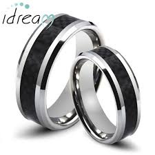 wedding bands sets his and hers carbon fiber inlaid tungsten wedding bands sets for men women