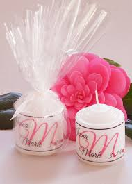 candle favors single initial candle wedding favor coral crystals