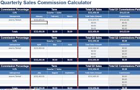 Sales Commission Excel Template Quarterly Sales Commission Calculator Spreadsheet