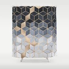 soft blue gradient cubes shower curtain by elisabeth fredriksson