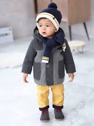 baby boys padded duffle coat with warm lining baby