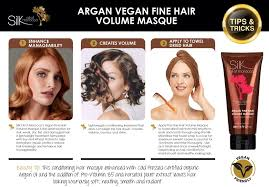 sollutions to dry limp hair argan fine hair volume masque silk oil of morocco