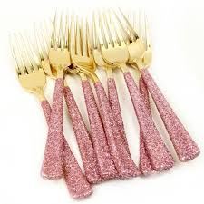 gold plastic silverware gold plastic fork blush pink glitter silverware pink utensils