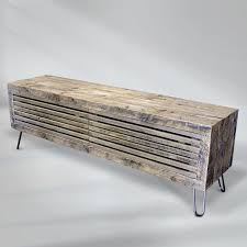 reclaimed wood media console slat wood doors free shipping