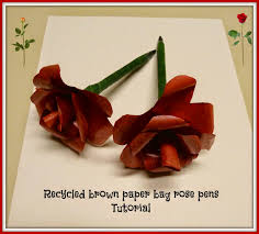 make it easy crafts recycled brown paper bag rose pens