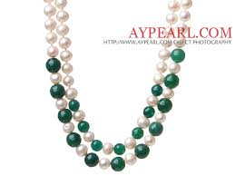 double strand beaded necklace images Fashion double strands natural white freshwater pearl and faceted jpg
