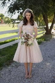 vintage lace wedding dresses tea length with sleeves naf dresses
