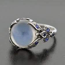 Moonstone Wedding Ring by A Brandt And Son Vintage Sterling Moonstone Cabochon U0026 Sapphire