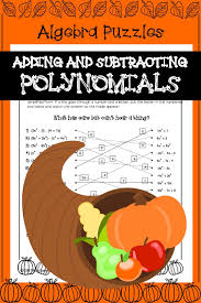 adding and subtracting polynomials thanksgiving algebra activity