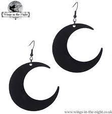 large crescent moon black earrings wings in the