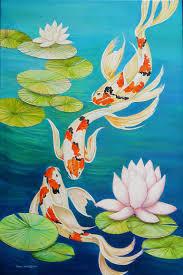 saatchi art artist sabo painting koi fish pond art