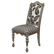 Dining Chair Upholstered Black U0026 White Upholstered Dining Chair From Mackenzie Childs Ltd