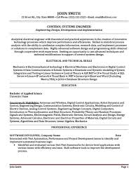 Sample Resume For Experienced Electrical Engineer by Download Control Systems Engineer Sample Resume