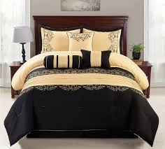 Palm Tree Bedspread Sets Amazon Com Wpm 7 Piece King Comforter Set Black And Gold Home