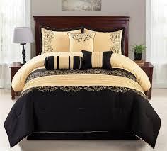 Black Comforter King Size Amazon Com Wpm 7 Piece King Comforter Set Black And Gold Home