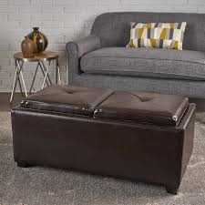 marcus 2 tray top bonded leather storage bench