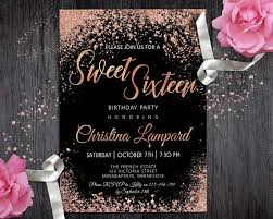 sweet 16 invitations sweet 16 invitation gold black birthday invitation for