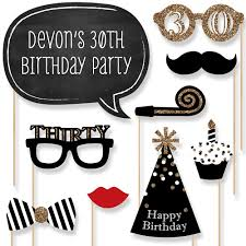 30th birthday 20 piece photo booth props kit