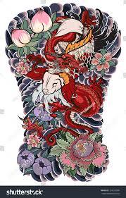 japanese tattoo design full back body stock vector 724213090